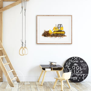 Bulldozer Truck Playroom Art