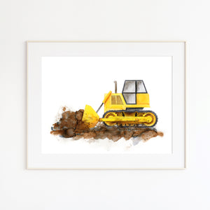 Bulldozer Construction Truck Boy Room Decor