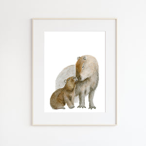 Mom and Baby Capybara Illustration