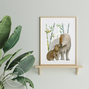 Dad and Baby Capybara Print