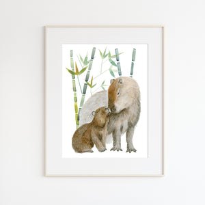 Mom and Baby Capybara Watercolor