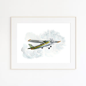 Vintage Airplane Watercolor
