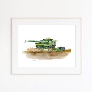 Combine Harvester Watercolor Print