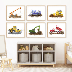 Construction Truck Print Set