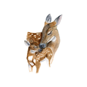 Mom and Baby Deer Nursery Art