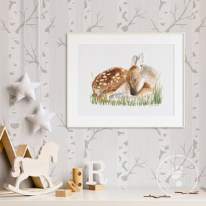 Sleeping Baby Deer Nursery Print