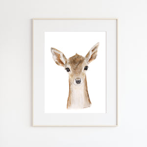 Baby Deer Watercolor Print
