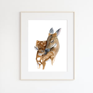Mom and Baby Deer Watercolor Print