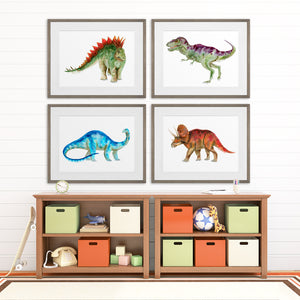 Framed Dinosaur Kids Room Decor - Set of 4