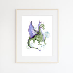 Dragon Watercolor Wall Art
