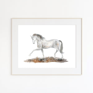 Horse Dressage Watercolor
