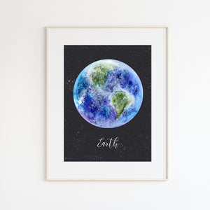 Planet Earth Watercolor Print