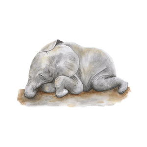 Baby Sleeping Elephant Nursery Print