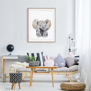 Sitting Baby Elephant Wall Art
