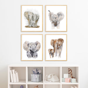 Elephant Family Watercolor Print