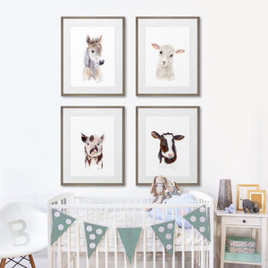 Set of 4 Framed Farm Nursery Prints by Brett Blumenthal