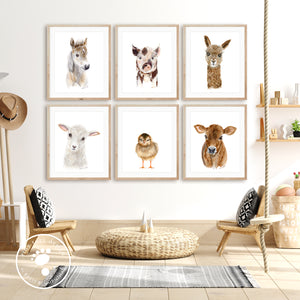 Farm Animal Nursery Print Set