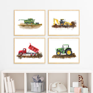 Farm Trucks Nursery Art