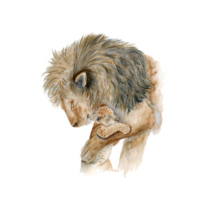 Male Lion and Cub Nursery Art