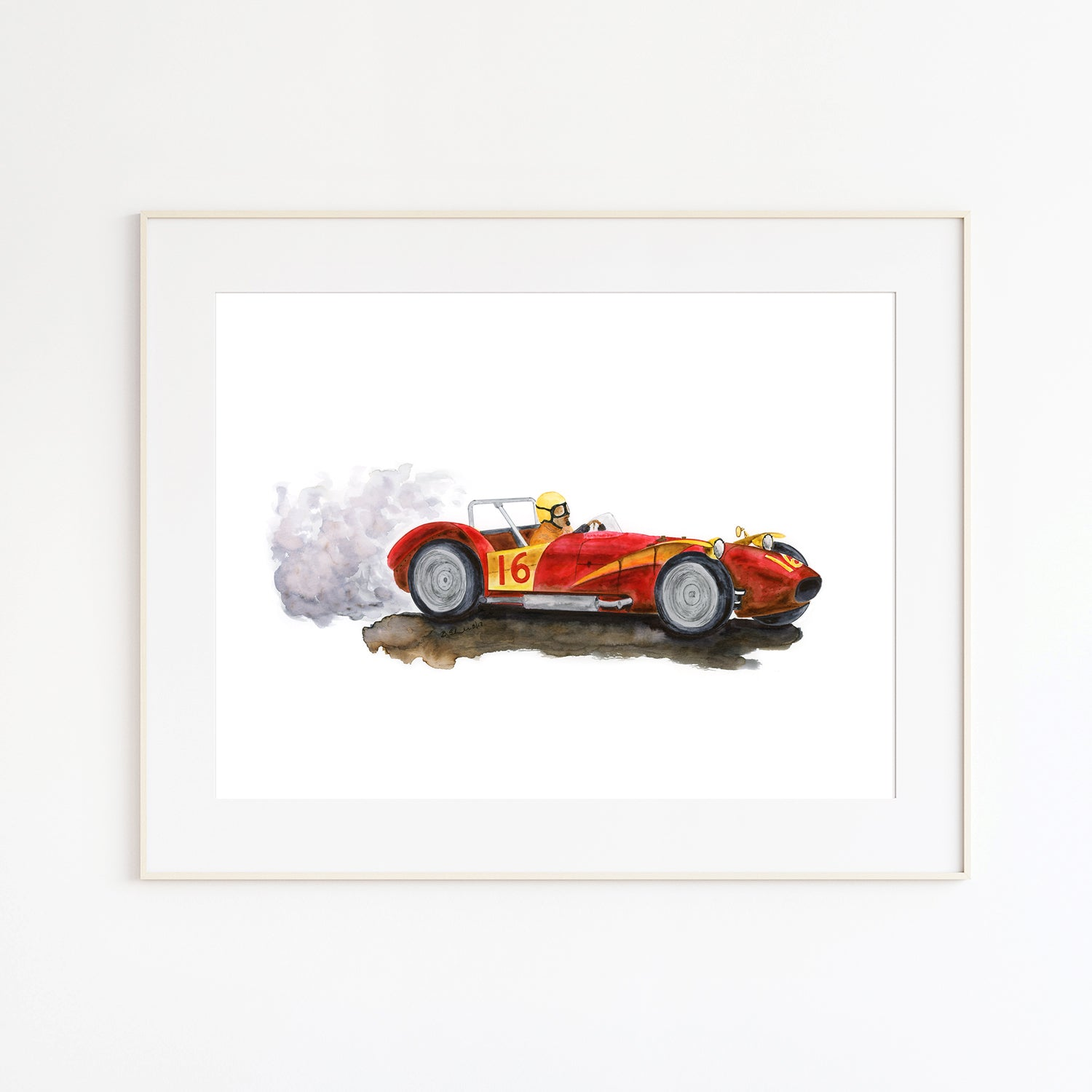 Red Ferrari F1 Illustration Vintage Car Art Print Tiny Toes Design