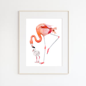Mom and Baby Flamingo Watercolor