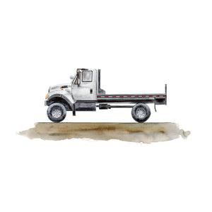 Flatbed Truck Watercolor Print