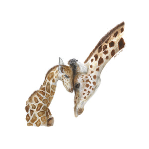 Mom and Baby Giraffe Watercolor Print