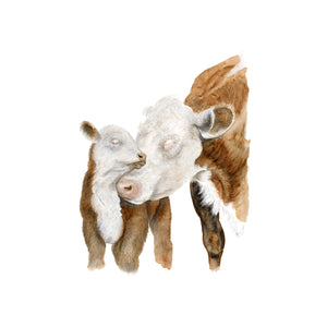 Mom and Baby Cows Nursery Print