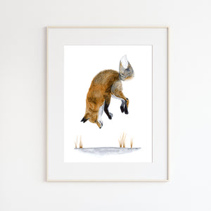 Jumping Fox in Snow Watercolor