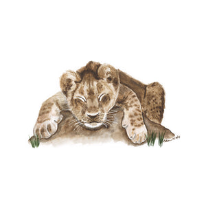 Baby Sleeping Lion Cub Nursery Art