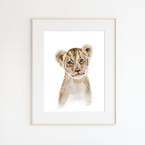 Lion Cub Watercolor Print