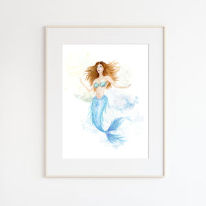 Mermaid Watercolor Print