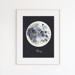 Moon Watercolor Nursery Art