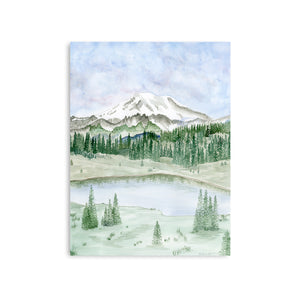 Mount Rainier Watercolor Landscape