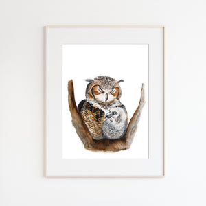 Mom and Baby Owl Watercolor Print