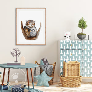 Mom and Baby Owl Woodland Decor