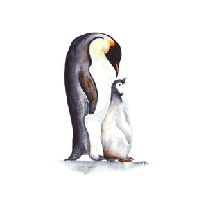 Dad and Baby Penguin Watercolor Print