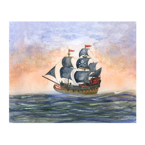 Pirate Ship Watercolor Print