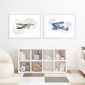 Blue Bi-Plane Painting as part of plane print set