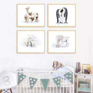 Arctic Animal Family Nursery Prints