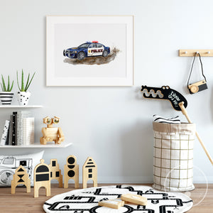 Lifestyle Shot of Police Car in Childs Room