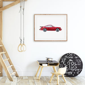 Red Porsche Playroom Decor
