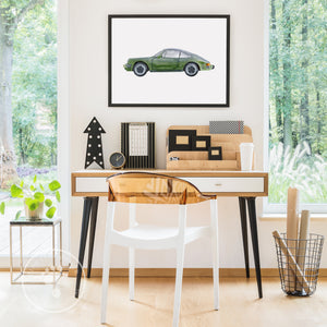 Green Porsche Wall Art