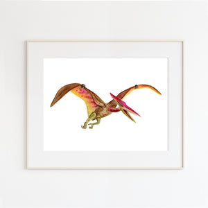 Flying Pteranodon Watercolor Print