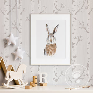 Baby Rabbit Woodland Print