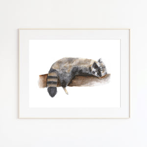 Raccoon Watercolor Nursery Art