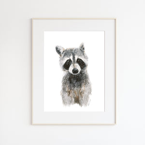 Baby Raccoon Watercolor Print