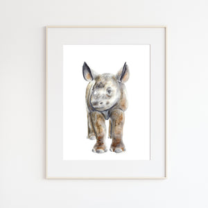Baby Rhino Watercolor Art