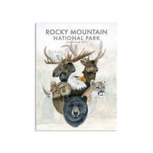 Rocky Mountain National Park Wildlife and Long's Peak Poster