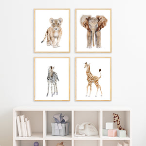 Safari Baby Animal Nursery Print Set